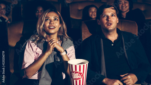 Audience applauding and enjoy at the end of movie and walked out of the cinema Canvas Print