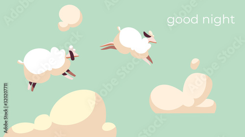 Sheep jump in sky among fluffy clouds, good night vector illustration Canvas Print