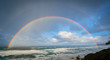 canvas print picture - Beautiful double rainbow over the ocean off the oregon coast