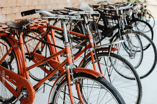obraz dibond Vintage bicycles, collectibles. retro vehicle and transportation. vintage color tone.