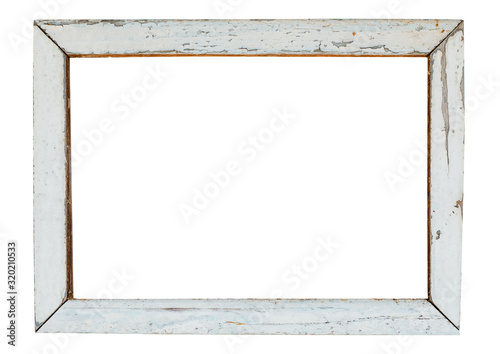 Fotografía vintage wood picture frame in white paint, weathered