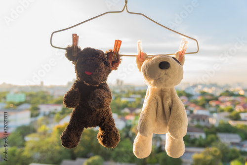 Fotografie, Obraz Close-Up Of Stuffed Toys Hanging On Coathanger Against Sky