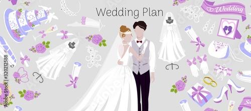 Fotomural Wedding plan agency with bride and bridegroom, accessories vector cartoon illustration banner