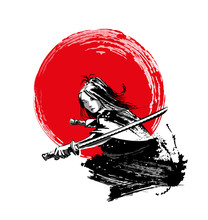 A Beautiful Girl Of Asian Appearance With A Samurai Sword. Vector Illustration.