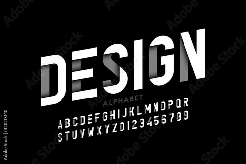 Photo Modern style font, alphabet letters and numbers