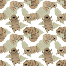 Seamless Pattern Cute Kawaii Watercolor Tardigrades, Water Bear With Macro Leaves On White Background. For Children Prints