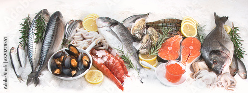 Fresh raw seafood. Canvas Print