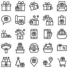Gift Related Vector Icon Set, ...