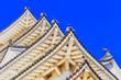 Leinwanddruck Bild - JP Himeji Roofs 5 corners sky