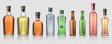 Realistic Alcohol Bottles. Tra...