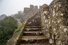 Steps Leading Up To The Highest Point At The Ruins Of The Moorish Castle, In The Fog