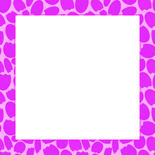 Square Pink Vector Photo Frame Made Of Flower Petals On A White Background. Isolated Square Frame For Design, Scrabooking, Wedding Photos