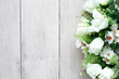 canvas print picture - Flower bouquet on white wooden floor background with copy space.