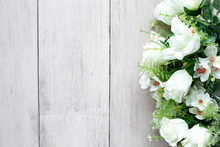 Flower Bouquet On White Wooden...