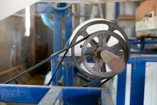 The Rice Mill Machine Systems During Working. Some Part Of Rice Came Out From The Paddy Separator Machine.