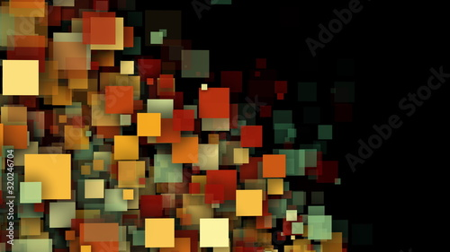 Fototapety, obrazy: Abstract background with multicolored transparent squares and particles. 3D computer rendering