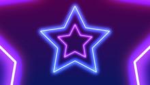 Star Shape Neon Light Frame With Copy Space. Futuristic 3D Blue Pink Laser Light Frame Stage Background