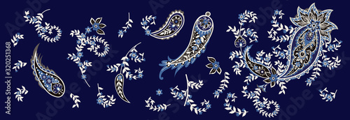 Fotomural Set of paisley and blooming branches. Indian folk motif. Vector