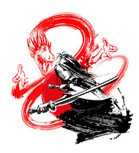 Girl With Asian Appearance With A Samurai Sword Against The Backdrop Of A Red Dragon. Vector Illustration.