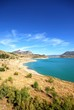 View across the reservoir towards the mountains (Embalse de Zahara), Zahara de la Sierra, Spain.
