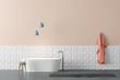 canvas print picture Beige and white bathroom interior with tub