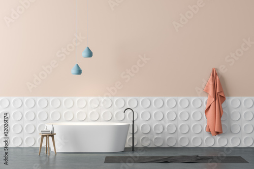 mata magnetyczna Beige and white bathroom interior with tub