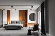Leinwanddruck Bild - White master bedroom interior with makeup table