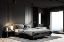 Gray Bedroom Corner With Round...
