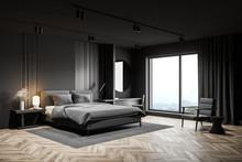 Gray Bedroom Corner With Makeu...