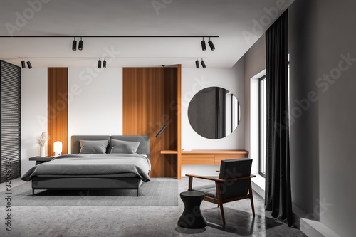 Zobacz obraz White master bedroom interior with makeup table