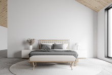 White Attic Master Bedroom Interior