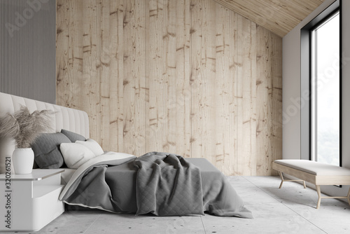 obraz lub plakat Wooden and gray attic bedroom interior