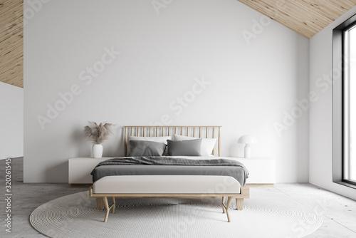 Fototapeta White attic master bedroom interior obraz
