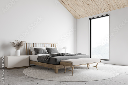 Billede på lærred White attic master bedroom corner