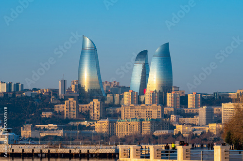 Panoramic cityscape view of Baku in the morning Canvas Print