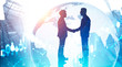 Businessmen shaking hands in city, globalization