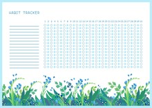 Habit Tracker For Month Flat Vector Template. .Spring Wild Flowers Themed Blank, Personal Organizer With Decorative Frame. Summer Season Floral Border With Stylized Lettering