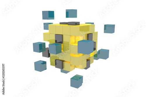 Fototapeta 3Dレンダリングによる分解と結合を示すイラスト