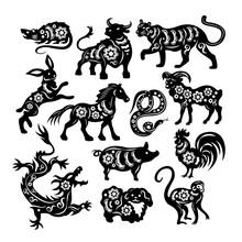 Chinese Black Zodiac Figures O...