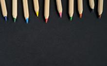Color Wooden Pencils On Black ...