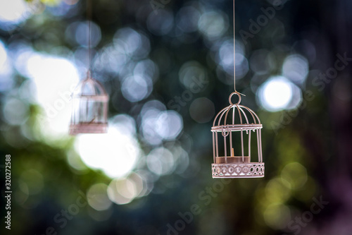 Tablou Canvas Birdcages Hanging From Trees