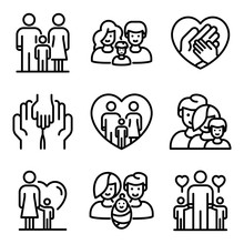 Foster Family Icons Set. Outli...