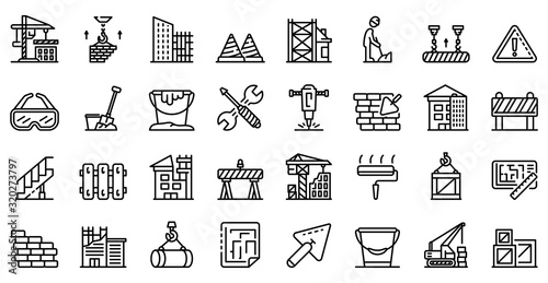 Vászonkép Building reconstruction icons set