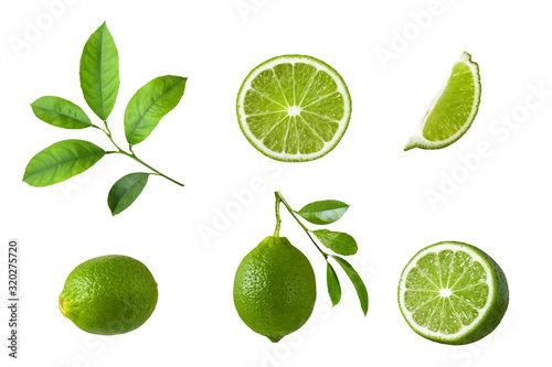 Fotografering Set of lime fruit, green lime slices and leaf isolated on white background