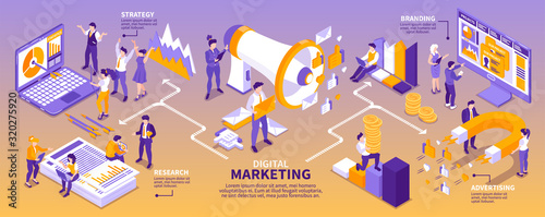 Fotomural Isometric Marketing Strategy Infographics