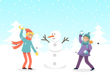 Boy And Girl Making Snowman Vector Illustration. Children Building Christmas Snow Man. Happy Boys And Girls On Winter Holidays Makes Snowballs.