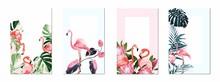 Exotic Pink Flamingo Birds Wit...