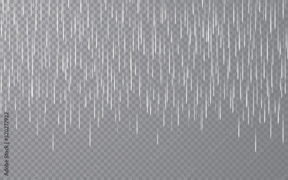 Fototapeta Rain drops on transparent background. Falling water drops. Nature rainfall. Vector illustration