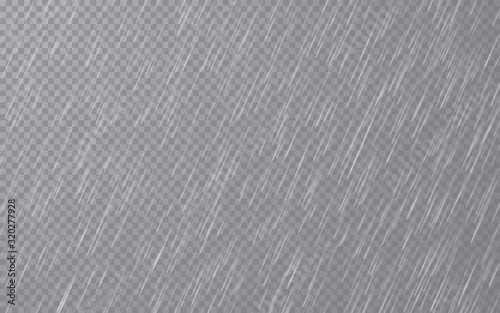 Obraz Rain drops on transparent background. Falling water drops. Nature rainfall. Vector illustration - fototapety do salonu