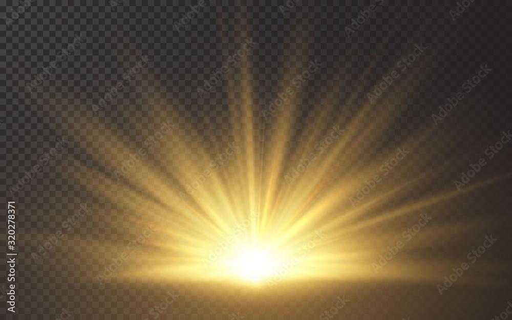 Fototapeta Sunlight special lens flash light effect on transparent background. Effect of blurring light. Vector Illustration